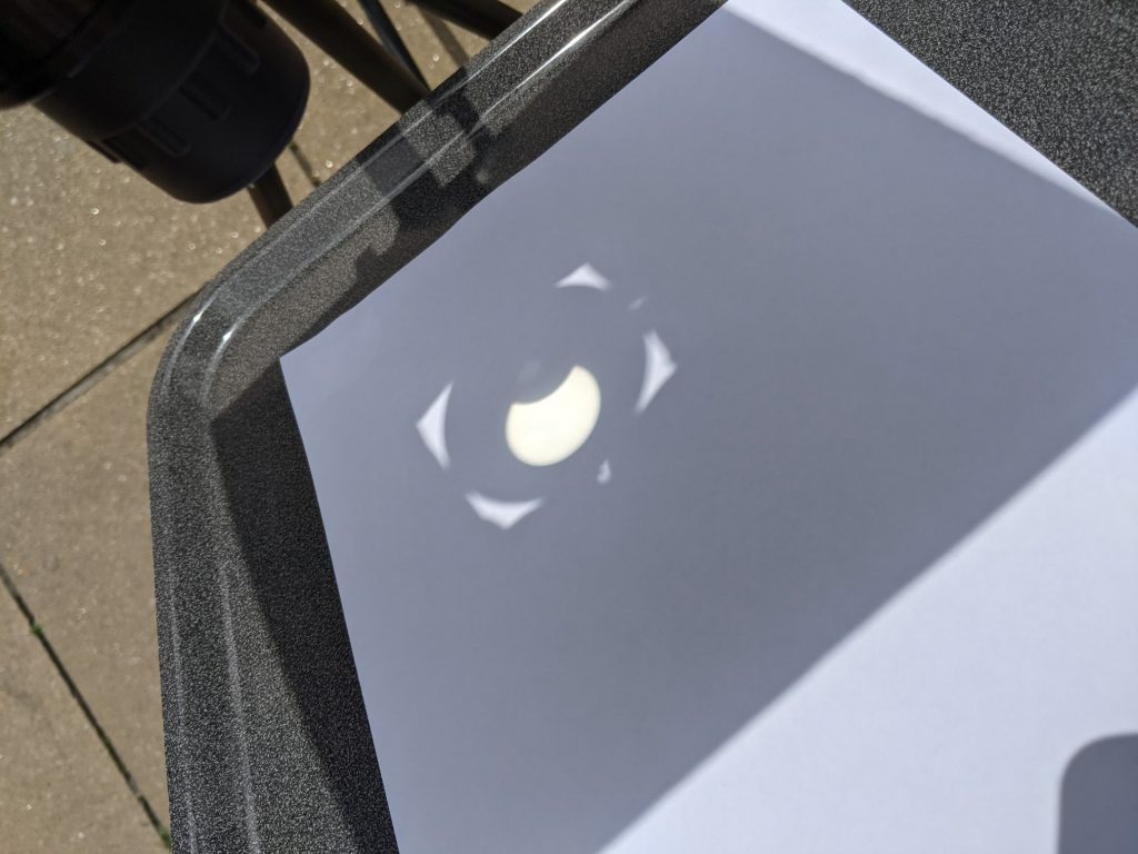 Projecting the partial eclipse onto a screen
